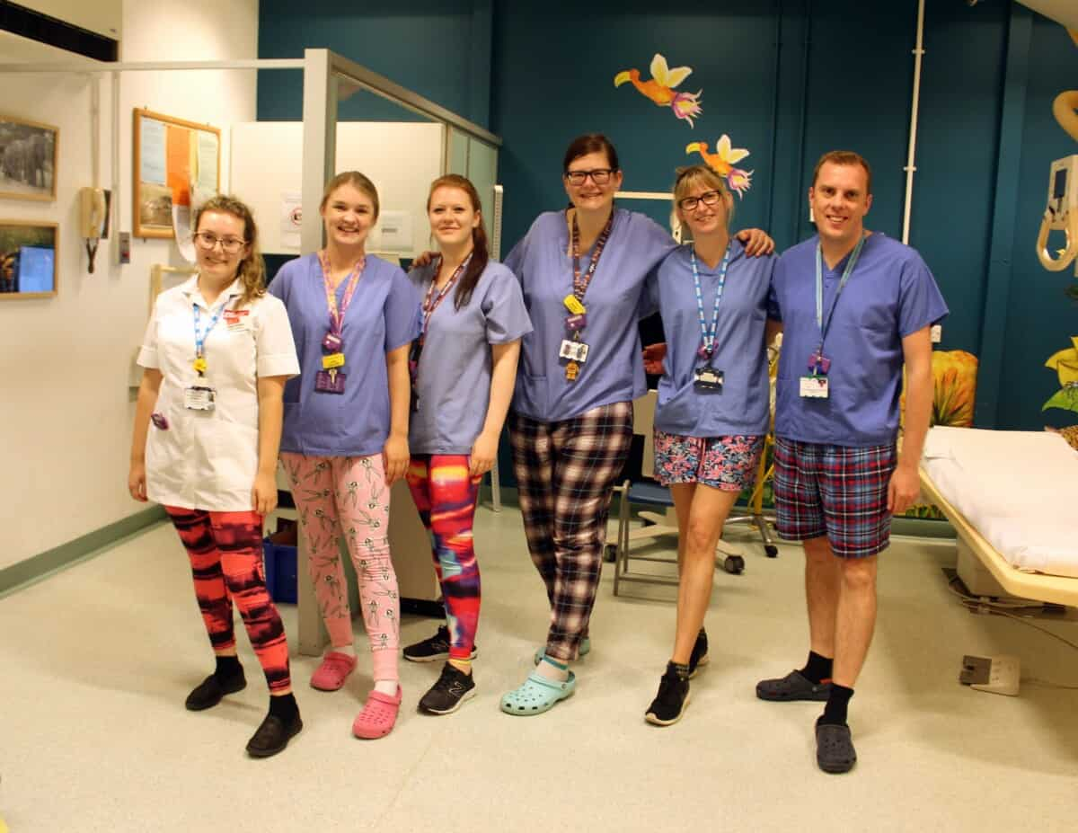 x-ray team wearing their wrong trousers
