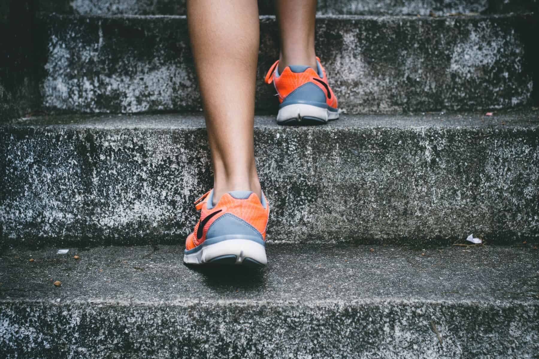 running up steps